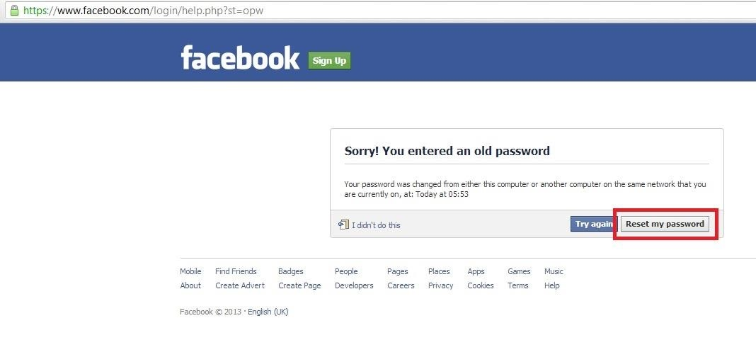Deletion of Facebook Account