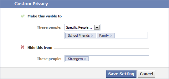 selected friends in facebook