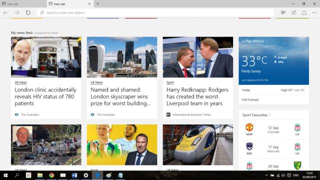 Customizable Start Page in Microsoft Edge