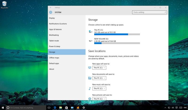 Hard drive Usage on Windows 10