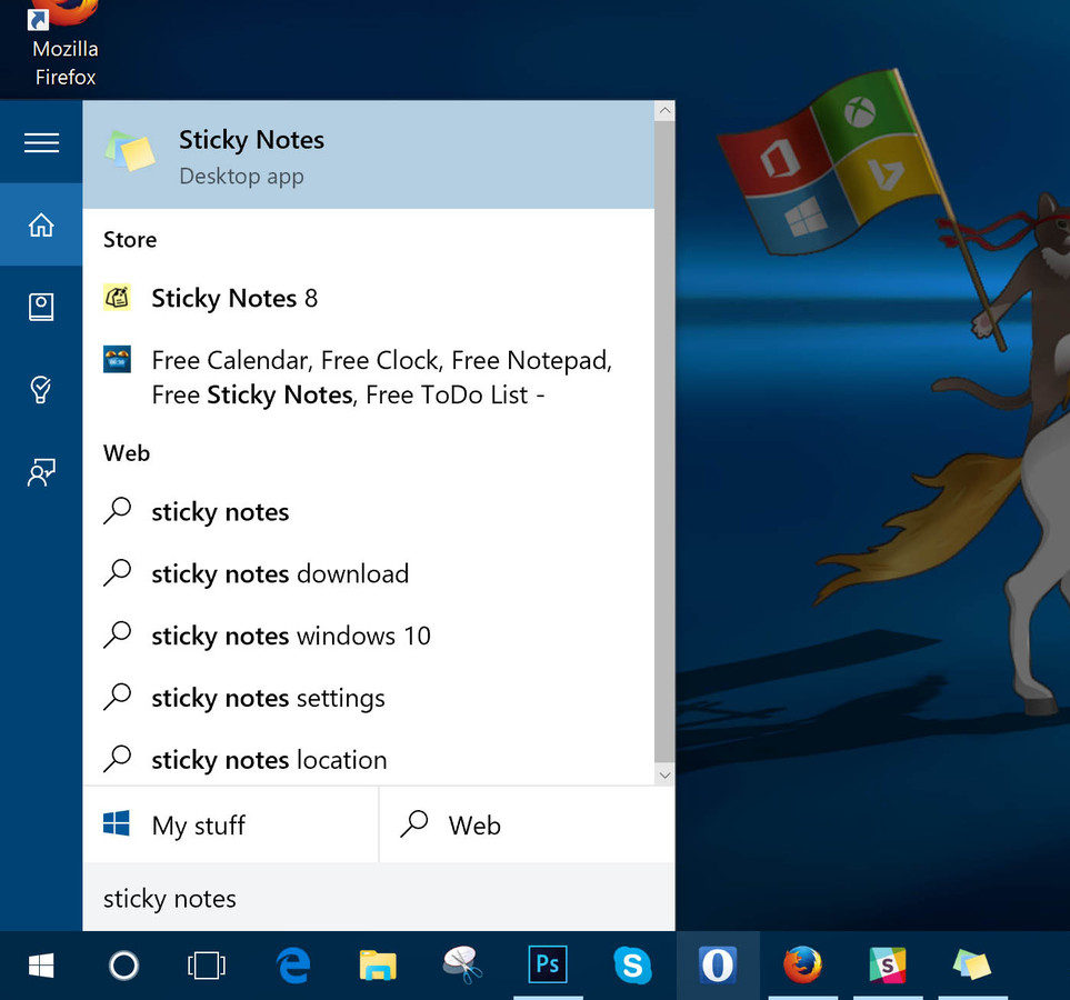 Search sticky Notes in cortana