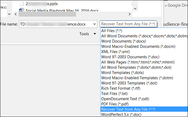 file type from dropdown menu
