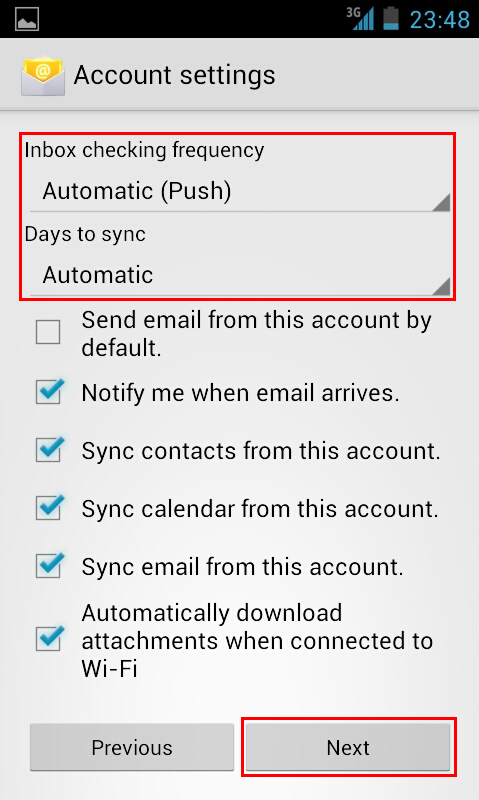 config hotmail android